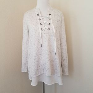 Simply Vera Vera Wang Gray Lace Up Oversized Top